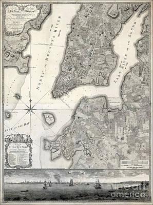 1766 Map Of New York City Poster by Jon Neidert