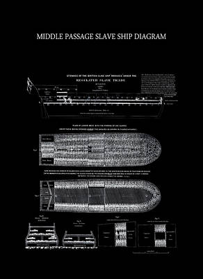 1788 Middle Passage Slave Ship Diagram Poster by Daniel Hagerman