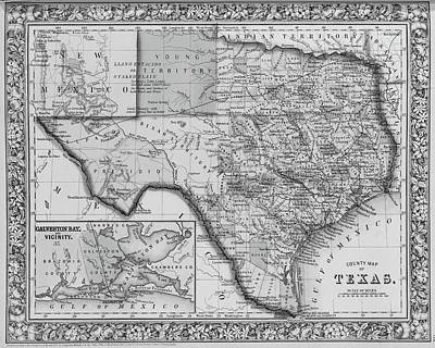 1800s Historical Map Of Texas In Black And White Poster