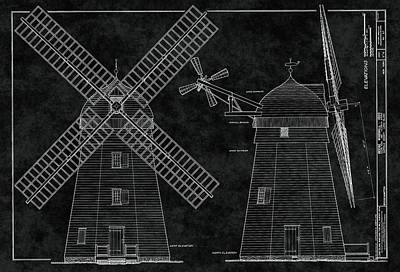 1820 Beebe Windmill Of New York Blueprint Poster by Daniel Hagerman