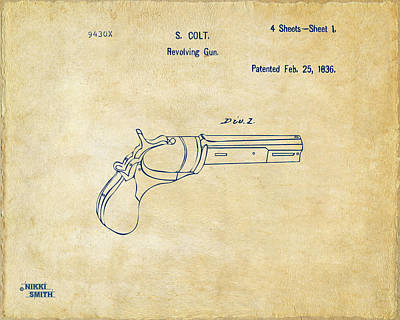 1836 First Colt Revolver Patent Artwork - Vintage Poster by Nikki Marie Smith