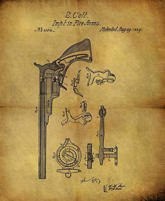 1839 Samuel Colt Revolver Patent Poster by Dan Sproul