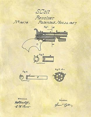 1857 Colt Revolver Design Poster by Dan Sproul