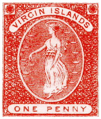 Poster featuring the painting 1858 Virgin Islands Stamp by Historic Image