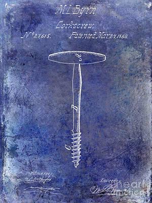 1860 Corkscrew Patent Blue Poster