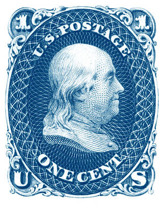 Poster featuring the painting 1861 Benjamin Franklin Stamp by Historic Image