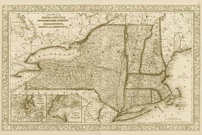 1863 New England And New York Map Sepia Poster
