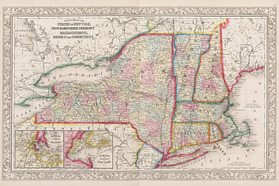 1863 New England And New York Map Poster