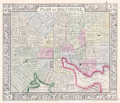 1864 Map Of Baltimore Maryland Poster by Celestial Images