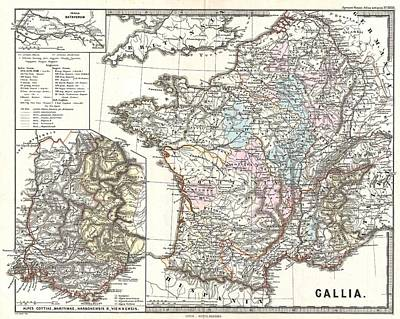 1865 Spruner Map Of France Or Gallia In Roman Times Poster