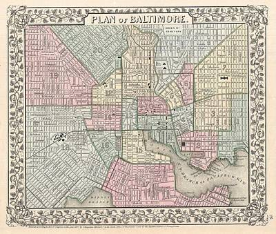 1867 Map Of Baltimore Maryland Poster by Celestial Images