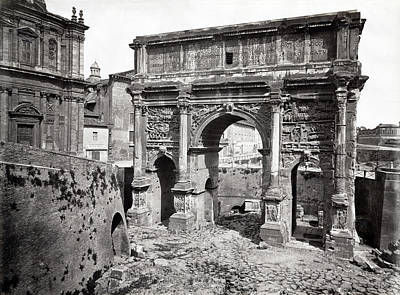 Poster featuring the photograph 1870 Arch Of Septimius Severus Rome Italy by Historic Image