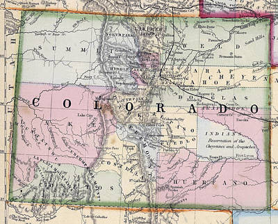 1870 Map Of Colorado Poster by Daniel Hagerman