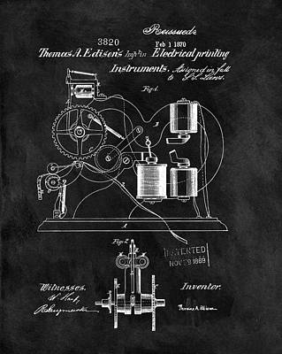 1870 Thomas Edison Print Patent Poster by Dan Sproul