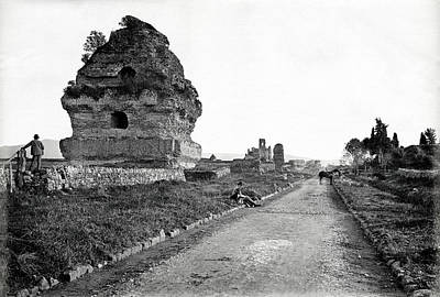 Poster featuring the photograph 1870 Visiting Roman Ruins Along The Appian Way by Historic Image