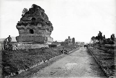 1870 Visiting Roman Ruins Along The Appian Way Poster