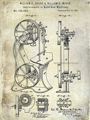 1871 Bandsaw Patent Poster