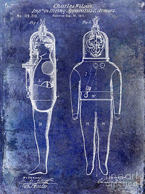 1871 Divers Suit Patent Blue Poster by Jon Neidert