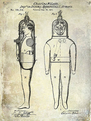 1871 Divers Suit Patent  Poster by Jon Neidert