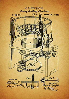 1871 Rotary Knitting Machine Poster by Dan Sproul