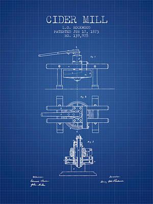 1873 Cider Mill Patent - Blueprint Poster