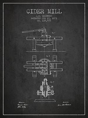 1873 Cider Mill Patent - Charcoal Poster by Aged Pixel
