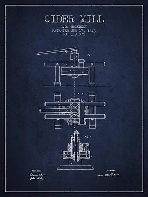 1873 Cider Mill Patent - Navy Blue Poster