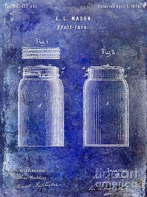 1873 Mason Jar Patent Blue Poster