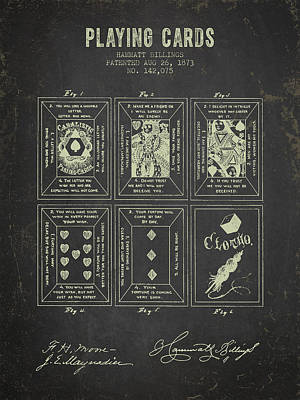 1873 Playing Cards Patent - Dark Grunge Poster by Aged Pixel