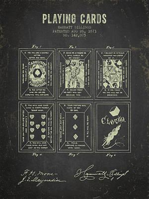 1873 Playing Cards Patent - Dark Grunge Poster