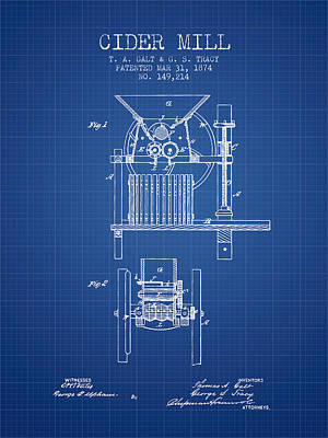 1874 Cider Mill Patent - Blueprint Poster by Aged Pixel