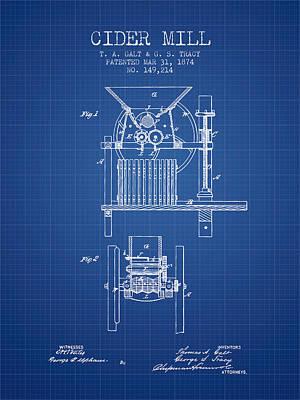 1874 Cider Mill Patent - Blueprint Poster