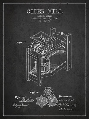 1874 Cider Mill Patent - Charcoal 02 Poster by Aged Pixel