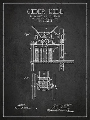 1874 Cider Mill Patent - Charcoal Poster by Aged Pixel