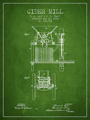 1874 Cider Mill Patent - Green Poster by Aged Pixel