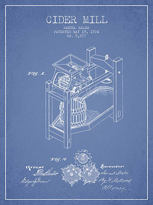 1874 Cider Mill Patent - Light Blue 02 Poster by Aged Pixel