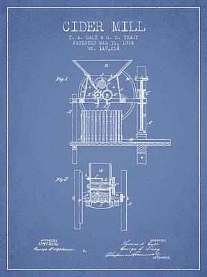1874 Cider Mill Patent - Light Blue Poster