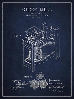 1874 Cider Mill Patent - Navy Blue 02 Poster