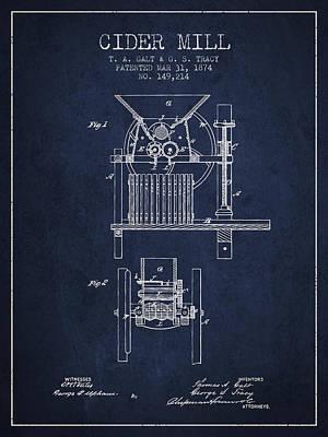 1874 Cider Mill Patent - Navy Blue Poster