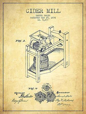 1874 Cider Mill Patent - Vintage 02 Poster