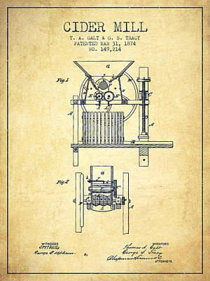 1874 Cider Mill Patent - Vintage Poster by Aged Pixel