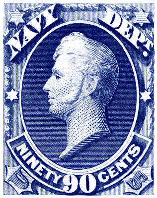 Poster featuring the painting 1875 Commodore Perry Us Navy Department Stamp by Historic Image