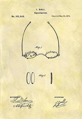 1875 Eyeglass Patent Poster by Dan Sproul