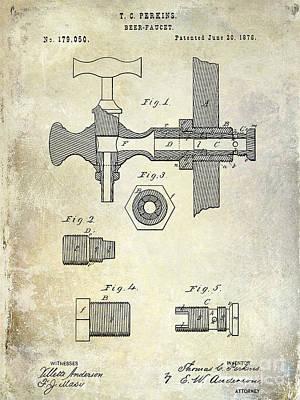 1876 Beer Faucet Patent Poster by Jon Neidert