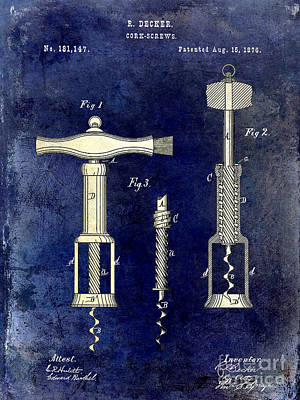 1876 Corkscrew Patent Drawing 2 Tone Blue Poster