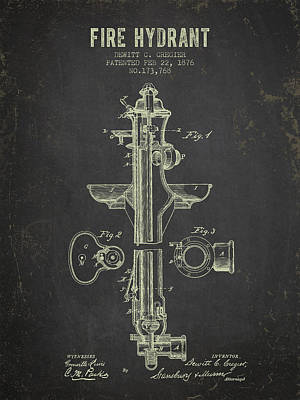 1876 Fire Hydrant Patent - Dark Grunge Poster by Aged Pixel