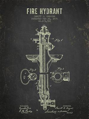 1876 Fire Hydrant Patent - Dark Grunge Poster