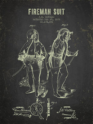 1876 Fireman Suit Patent - Dark Grunge Poster by Aged Pixel