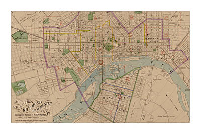 Reproduction 1876 Map Of Richmond Virginia Poster by Christopher Kerby