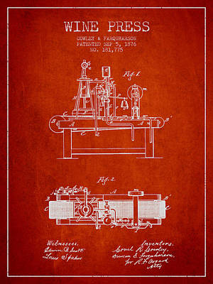 1876 Wine Press Patent - Red Poster by Aged Pixel
